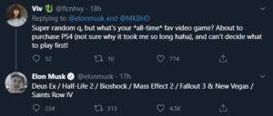 elon musk favorite video games tweet