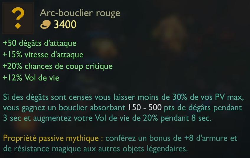 LoL Arc Bouclier Rouge